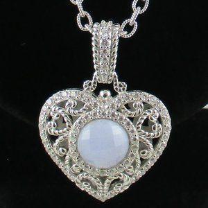 Judith Ripka Blue Agate Heart Enhancer with Chain